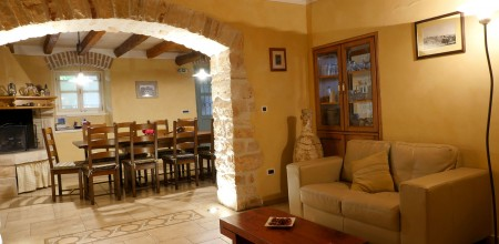 Dining area with open fireplace